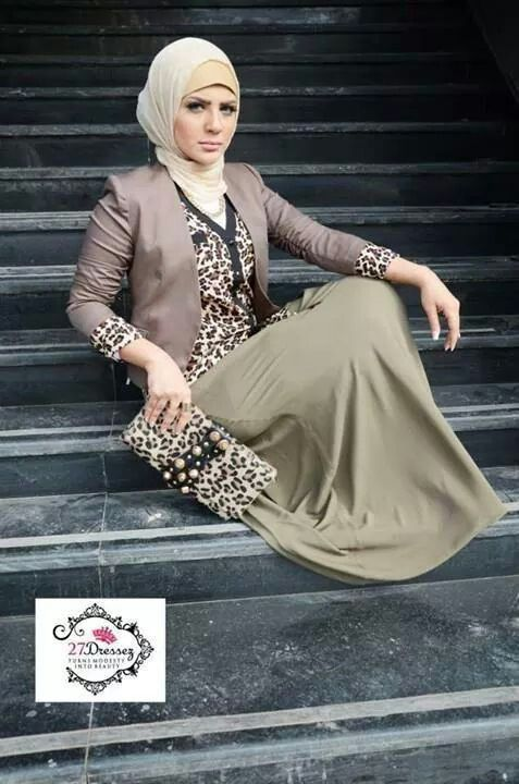 Muslim Fashion green dress, beige hijab
