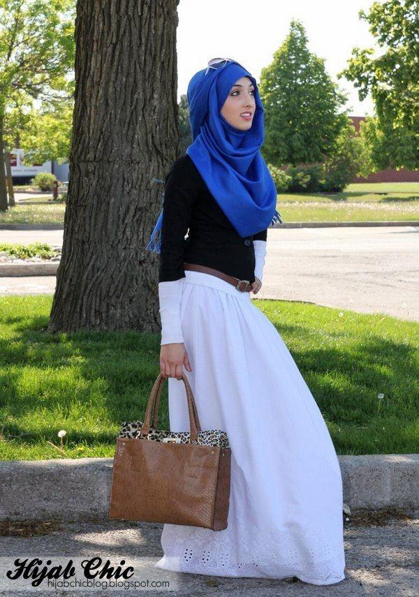blue hijab, white dress